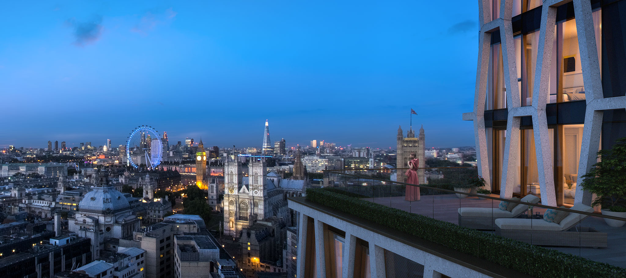 View from Luxury penthouse, The Broadway
