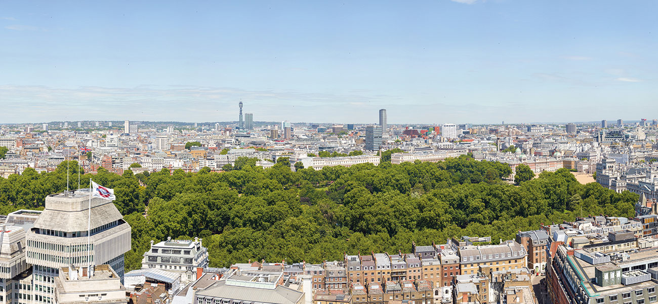 View over Royal Parks from The Broadway