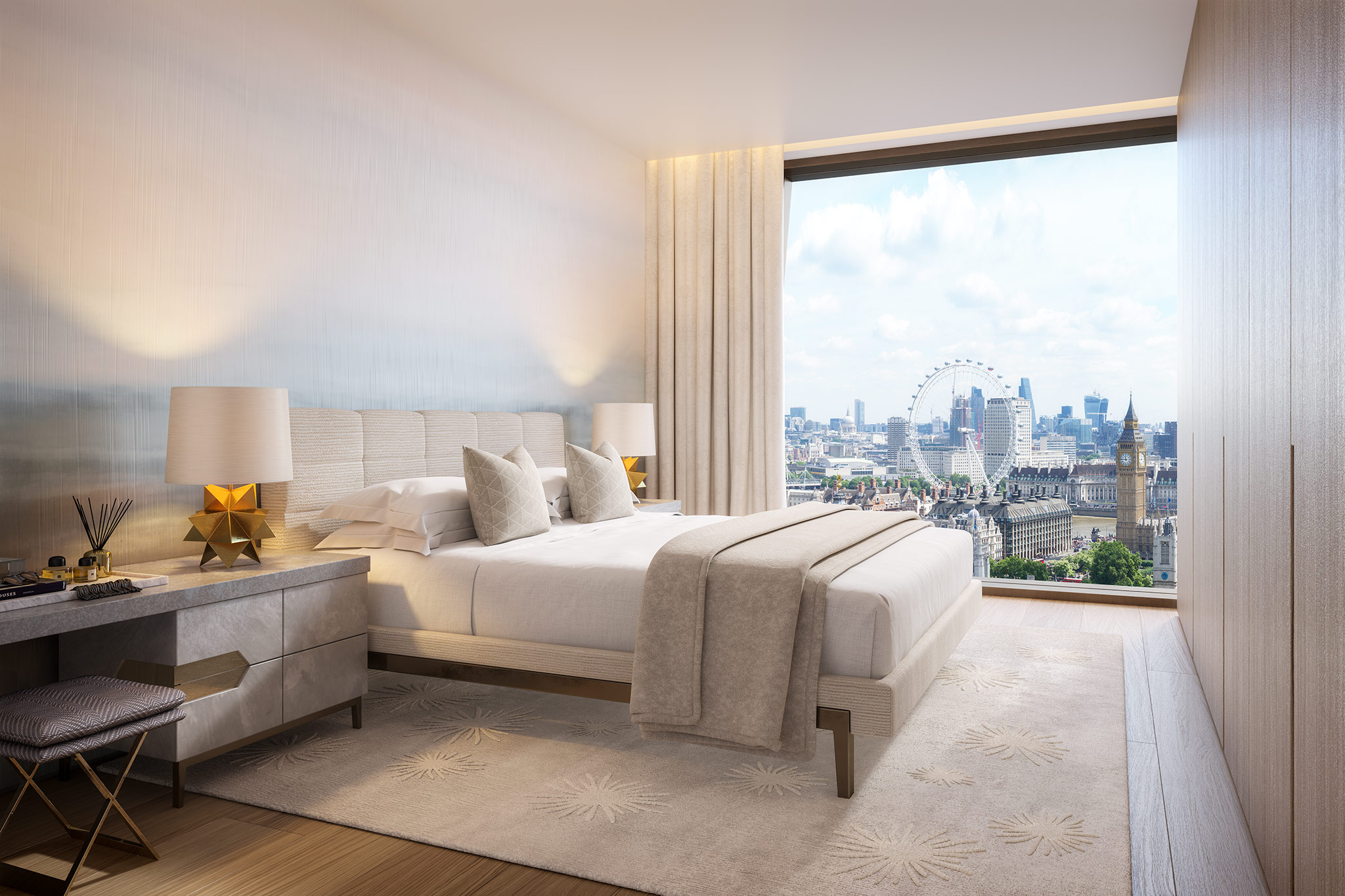 Master bedroom, with views over London eye, The Broadway
