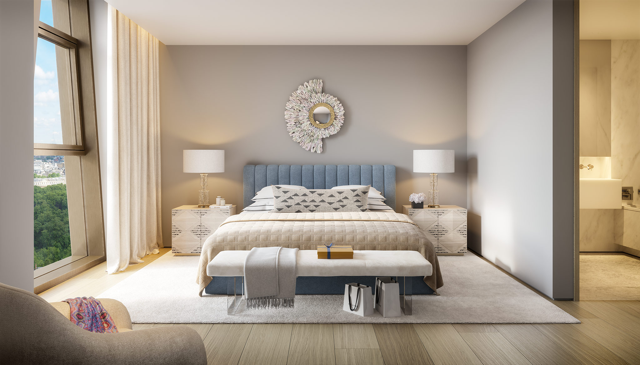 Master bedroom, apartment, The Broadway